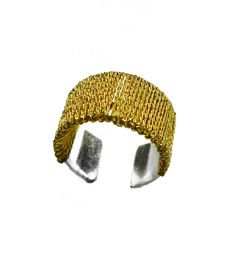 SIMON ALCANTARA - STERLING SILVER EAR CUFF HAND WOVEN WITH GOLD CORD