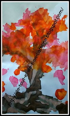 Straw blown painting Fall trees. Kids will love it!