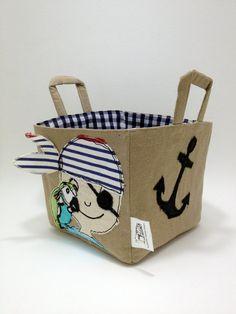 Pirate Boys Bedroom Storage Basket, Custom Pirate via Etsy