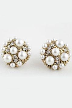 Diamante Stud Gold Earrings