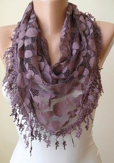 Dark Purple - Patterned Tulle Scarf with Same Color Trim Edge - Triangle - Trendy$17.90