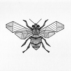 """Last August I got stung in the mouth by a bee (crawled inside my coconut water) - and this weekend I was stung in the throat (while sleeping). Hey bees, I'm listening… 2x2"""" ink doodle  pigmentplussurface:  Geometric Bee-Allison Kunath"""