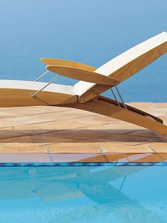 Enjoy relaxing days poolside on the innovative design of the Curvilis Teak and Sling Chaise Lounge; a durable and luxurious place you'll enjoy for summers to come.