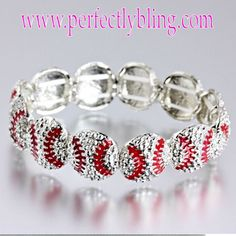 Baseball Mom Silver and Red Stretch Bracelet....I will be needing this!  I need to find one!