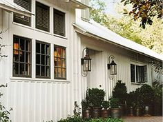 Board and Batten siding and lanterns