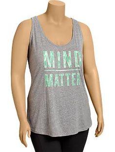 "Womens Plus ""Mind Over Matter"" Tanks"