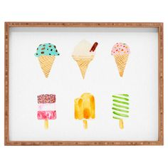 Ice Cream Selection Bamboo Tray