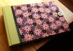 4x6 Photo Album/ Guest Book/ Scrapbook/ Brag Book in Pink & Black Flowers Fabric with Button