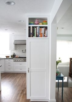 Shallow cabinet and shelf at end of fridge