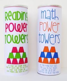 power towers for sight words and math facts: write math facts and sight words on the bottom of dixie cups. kids have to recognize and say the answer before they can stack their cup. creates awesome pyramids! store the cups in pringles cans and recover like these to make them cute :] Would use with Spelling Words and Math facts!