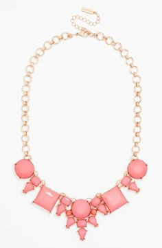 Gorgeous necklace for spring | Coral and gold frontal necklace by BaubleBar
