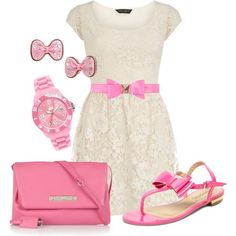 Hello Kitty pretti pink, cloth, pink lace, madison style, fashion dos, outfit, white lace, hello kitty, belts