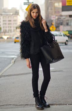 Street Chic: New York What: Enhance a monochrome look with mega-volume outerwear. Wear: Zara coat, J Brand jeans, Dr. Marten boots Street Fashion, Doc Martens, Doc Martin, Street Style, Dr. Martens, Black, Combat Boots, Street Chic