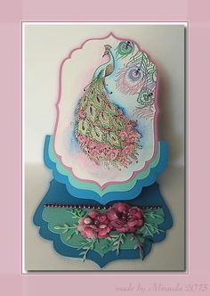 Easel card with stamped peacock and brass embossing - 'Mir'acle Art Inspirations