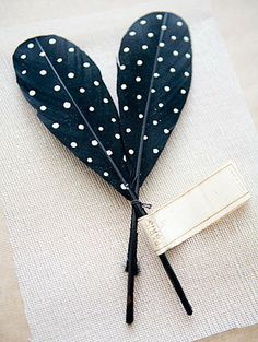 DIY polka dot painted feathers