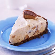 """Frozen Peanut-butter Pie:  """"This five-ingredient pie recipe tastes like peanut butter ice cream mixed with chopped peanut butter cups."""""""
