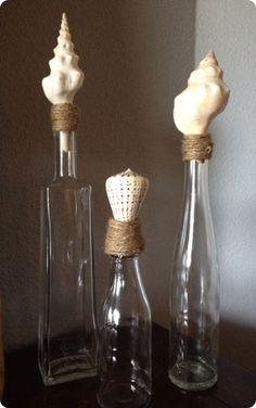 Beachy Bottles with Seashells