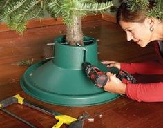 Don't tighten your Christmas tree stand nuts by hand - instead, try this simple trick that will let you tighten them with a power drill.