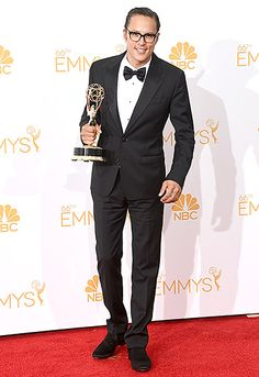 True Detective director Cary Fukunaga was swoon-worthy in a black peak lapel tuxedo, white evening shirt and black bow tie at the 2014 Emmys.