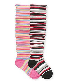 Black & Candy Striped Knee-High Socks Set on Zulily. Our girls would love these.