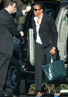 Michelle Obama with a Reed Krakoff tote