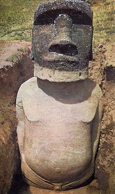 Easter Island Statue Body - the foundation of the corporal underlying the cerebral is revealed