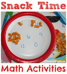 Use Snack Time for Practice Math Skills Needed for Kindergarten!  Gets kids to practice one to one correspondence, counting, math patterns, and more in a FUN way!