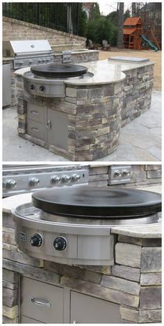 You could make tortillas or hibachi dishes with this thing! Outdoor Kitchen with Evo Affinity 30G Circular Cooktop