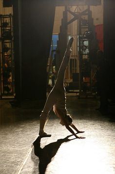 Sara Mearns, Principal Dancer with NYCB warming up before a show.