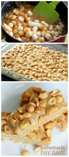 "Homemade Pay Days - so easy to make and they taste just like it! { <a href=""http://lilluna.com"" rel=""nofollow"" target=""_blank"">lilluna.com</a> } Recipe includes peanuts, peanut butter chips, mini marshmallows and sweetened condensed milk."