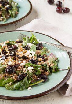 Roasted Cherry Farro Salad | dishing up the dirt