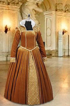 tudor fashion | Tudor Dress No. 22 Gold - 410.00 USD - Medieval and Renaissance ...