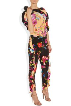Etro | Ruffle-trimmed floral-print silk pants | NET-A-PORTER.COM