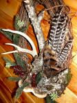 Rustic wreath, turkey feathers, antlers