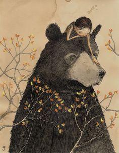 friends, animal paintings, illustrations, bears, graham francios, bird dogs, grahamfrancios, bear hugs, illustration art