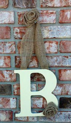 Creme and Burlap initial decoration- Chose your letter. $20.00, via Etsy.