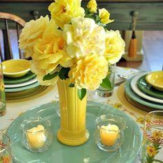 yellow flower arrangement #centerpiece