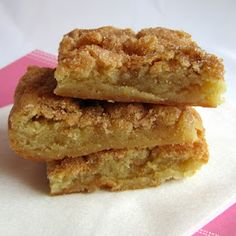 Snickerdoodle blondies.  The delicious taste of a snickerdoodle cookie in a fudgy bar, with half the work!