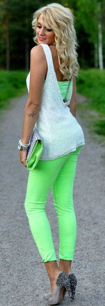 tattoo placements, neon green, outfit, lime, neon colors, shoe, green pants, bright colors, colored jeans