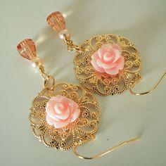Peach Cabbage Rose Flower Earrings Peach Glass by Plumbeadacious, $14.00