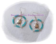 beaded hoops w/ turtle center earrings