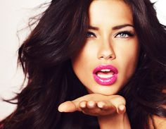 angel, victoria secrets, hair colors, stunning makeup, dark hair, adriana lima, pink lips, lip colors, beauti