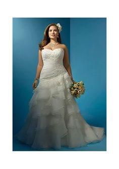 Chapel Train Strapless Mermaid Plus Size Organza Wedding Dress with Applique Bodice