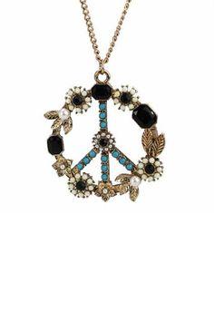 Boho Peace RhinestonePendant Necklace