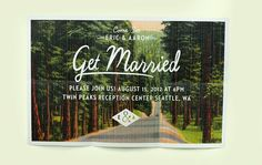 Wedding Invitation - Folded Vintage Forest Postcard Invitation set