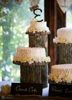 Cakes by the Bride + Groom's Family for this rustic chic Magnolia Plantation Wedding
