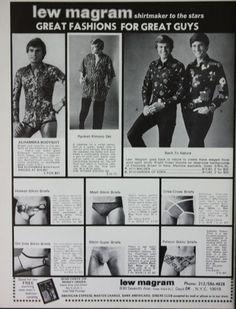 1973 Lew Magram men's sexy skimpy UNDERWEAR print ad