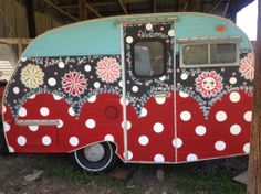 Vintage Trailer painted by Angela Boone Leachman in Emperor's Silk, Provence, Graphite, Pure White, and Arles Chalk Paint® decorative paint by Annie Sloan