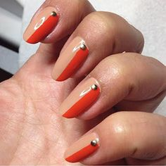 A Side of French: For side-of-the-nail chips, take an opaque nude polish and do one swift swipe just on the side of nail enough to cover the chip. Do this to all nails, even if not chipping. Feeling extra artsy? Add a nail stud and then apply a top coat.
