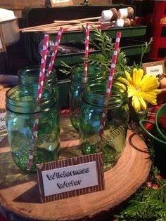 Mason jar drinks at a Camping Party Birthday Party!  See more party ideas at CatchMyParty.com!